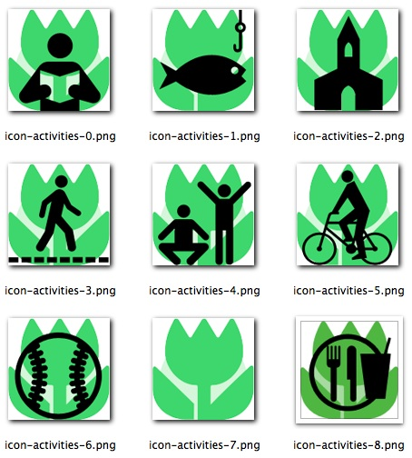 Some of the icons for the 'icon driven' interface used by care givers to document the care given. These icons represent a variety of activities that a resident might enjoy.