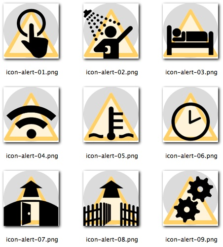 Some of the icons for the 'icon driven' interface used by care givers to document the care given. These icons represent the different kind of alerts generated based on resident interaction.