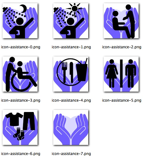 Some of the icons for the 'icon driven' interface used by care givers to document the care given. These icons represent the assistance services that might be offered by the care staff.