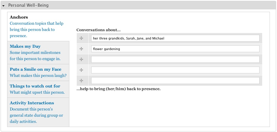 Screenshot of the MVP application, showing the structured data input for documenting a resident's personal preferences.