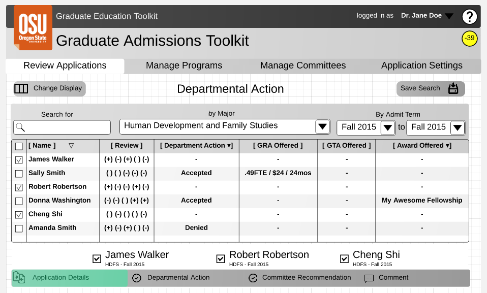 This wireframe outlines a novel interface used by program administrators to find and review graduate applicants. It makes use of a searchable, sortable, and configurable table whose state can be saved and restored by the user. It also shows that selected applicants in the table are displayed below the table for deeper comparison and review.