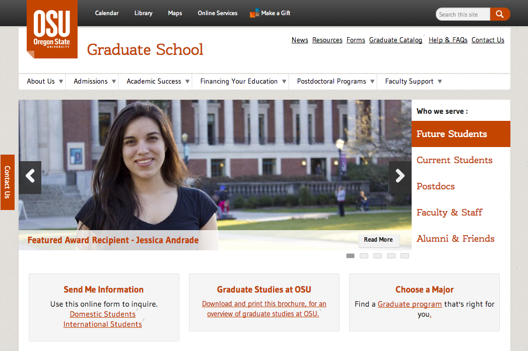Graduate School home page, showing a novel approach to information architecture. The image carousel (and the