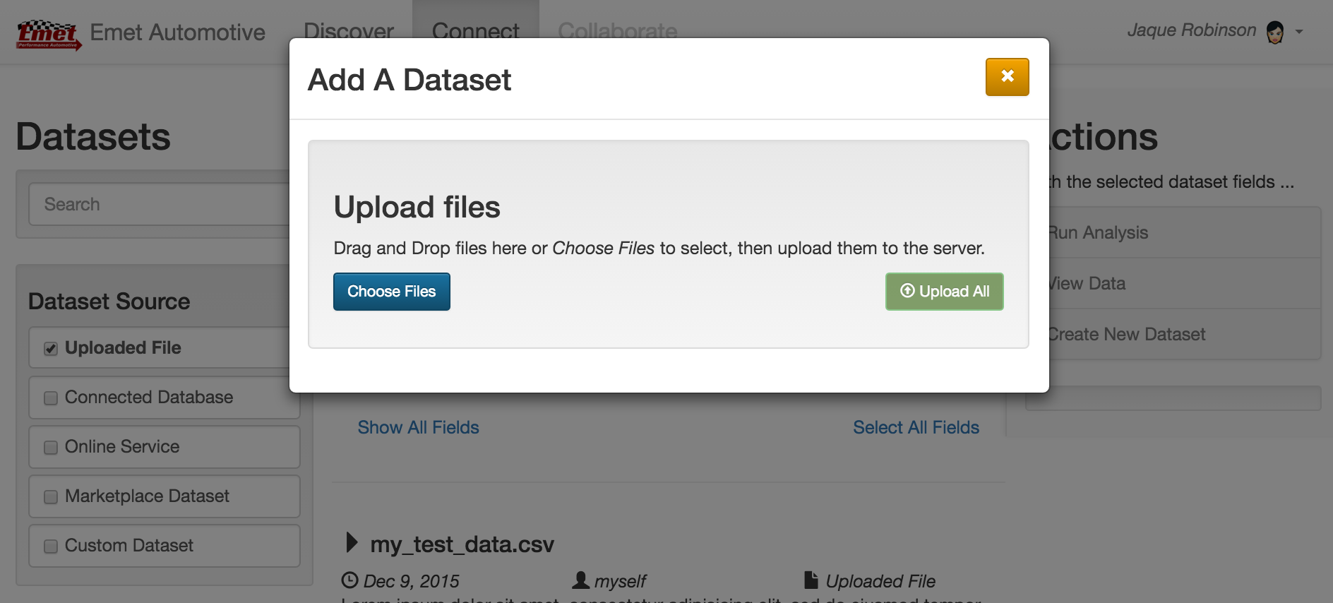 This screen shot of the MVP shows the upload interface for adding private company datasets.